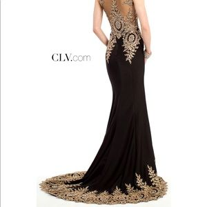 BRAND NEW black evening gown with gold trim